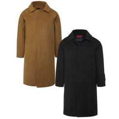 Seoul Homme - Collared Hidden-Button Long Coat