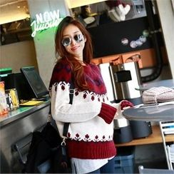 PIPPIN - Crew-Neck Nordic Pattern Knit Top