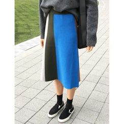 FROMBEGINNING - Color-Block A-Line Midi Skirt