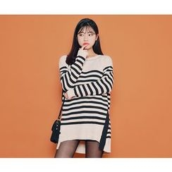 HOTPING - Dip-Back Stripe Knit Top