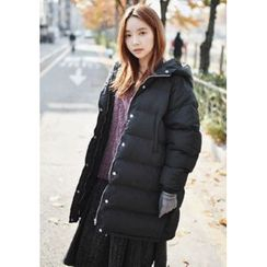 GOROKE - Hooded Thick Puffer Coat with Scarf