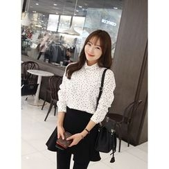hellopeco - Patterned Cotton Blend Blouse