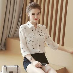 Munai - Star Long-Sleeve Chiffon Blouse