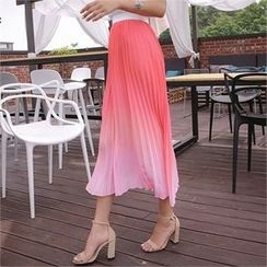 ERANZI - Gradient Pleated Long Skirt