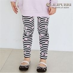 LILIPURRI - Girls Bow Pattern Stripe Leggings
