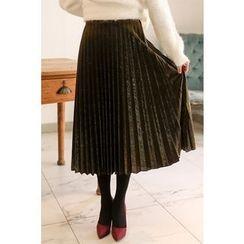 PPGIRL - Glittered Pleated Midi Skirt