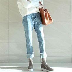 YOOM - Cuff-Hem Baggy Jeans
