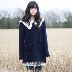 YR Fashion - Lace Trim Collared Long Sleeve Tunic