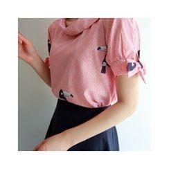 LEELIN - Tie-Sleeve Bird Print Top