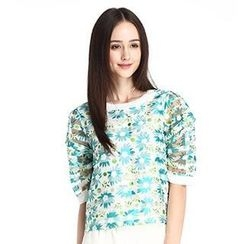 O.SA - Elbow-Sleeve Flower-Print Top