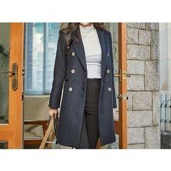 UUZONE - Notched-Lapel Double-Breasted Coat