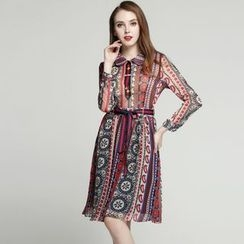 Elabo - Patterned Long-Sleeve A-Line Dress