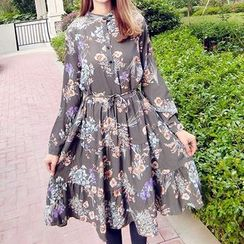 Kaboom - Floral Print Long Sleeve Tiered Chiffon Dress