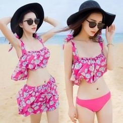 Lady J Swimwear - Set: Floral Bikini + Swimskirt