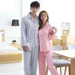 SHIRLEY - Couple Matching Pajama Set: Animal Print Long Sleeve Top + Pants