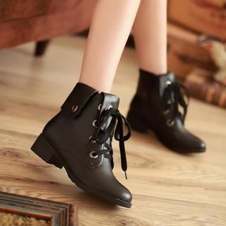 77Queen - Fold-Over Lace-Up Ankle Boots