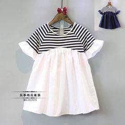mina diva - Kids Short-Sleeve Striped Ruffled Dress