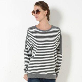 59 Seconds - Dolman Sleeve Striped Sweatshirt