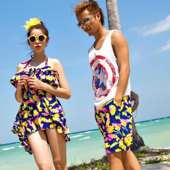 Rachel Swimwear - Floral Beach Shorts / Floral Bikini Set