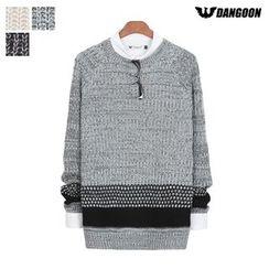 DANGOON - Crew-Neck Contrast-Trim Knit Sweater