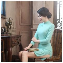 Janelle Qipao - 七分袖加厚毛呢修身旗袍