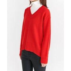 Someday, if - V-Neck Wool Blend Knit Top