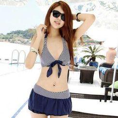 Rachel Swimwear - Set: Halter Bikini + Striped Top
