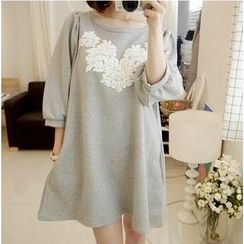 Ceres - Maternity Lace Panel Puff Sleeve Dress