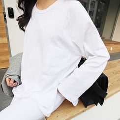 MARSHMALLOW - Round-Neck Long Top
