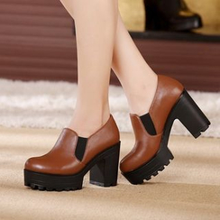 Hannah - Genuine Leather Platform Block Heels