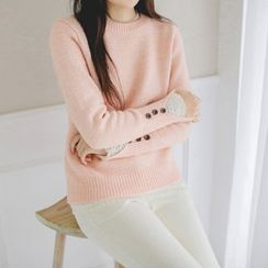 JUSTONE - Crew-Neck Buttoned-Cuff Knit Top
