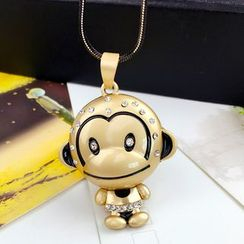 HEDGY - Rhinestone Monkey Pendant Necklace