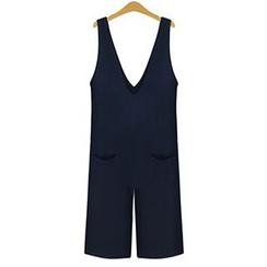 AGA - V領寬身背帶連衣褲