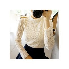 LEELIN - Mandarin-Collar Lace Blouse