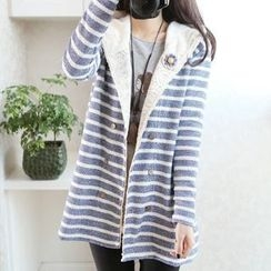 Aigan - Striped Hooded Buttoned Coat