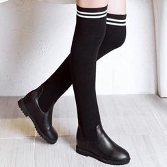JY Shoes - Striped Faux Leather Boots