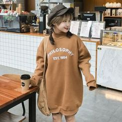 Rocho - Letter Embroidered Mock Neck Long Pullover