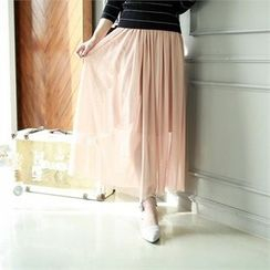 GLAM12 - Elastic-Waist Long Skirt