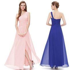 Ever Pretty - One Shoulder Sheath Chiffon Evening Gown