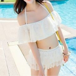 Sweet Splash - 套裝: 蕾絲露肩比基尼泳衣 + 荷葉邊泳裝短裙