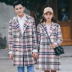 Bay Go Mall - Plaid Double Breasted Notch Lapel Coat