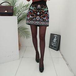 DABAGIRL - Embroidered-Front Mini Corduroy Skirt