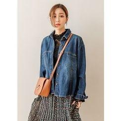J-ANN - Dual-Pocket Washed Denim Jacket