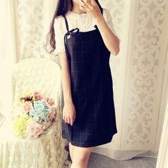 米蟲の小屋 - 背帶格紋連衣裙