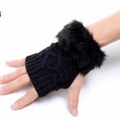 Nirvana Nation - Faux-Fur Knit Gloves