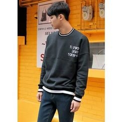 GERIO - Brushed Fleece Lined Lettering Sweatshirt