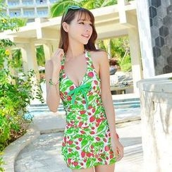 Rachel Swimwear - Bow-Accent Printed Halter Swimdress