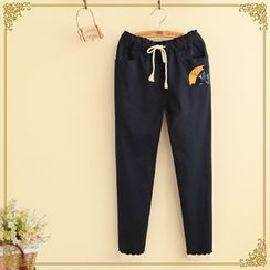 Fairyland - Cat Embroidered Drawstring Pants
