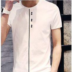 Hawoo - Short-Sleeve Button T-Shirt