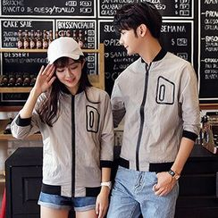 Azure - Couple Matching Contrast Trim 3/4 Sleeve Light Jacket